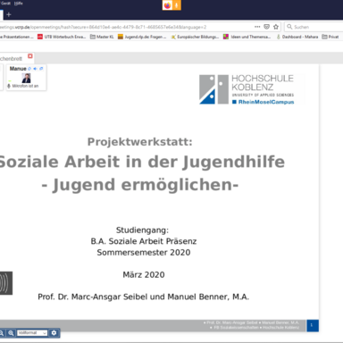 Screenshot Online-Vorlesung